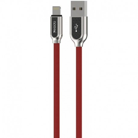 Cable USB Cotton type Lightning Iphone 1,2m Rouge