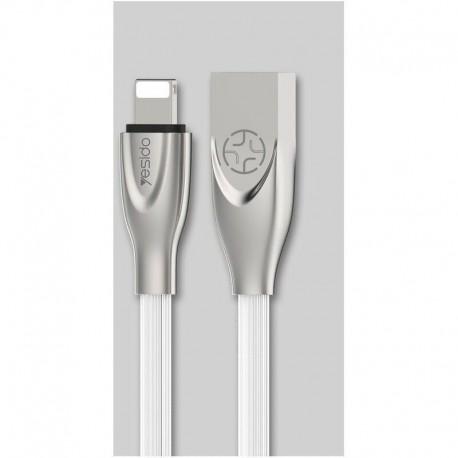 Cable USB elastomère type Lightning Iphone 1,2m blanc