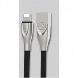 Cable USB elastomère type Lightning Iphone 1,2m noir