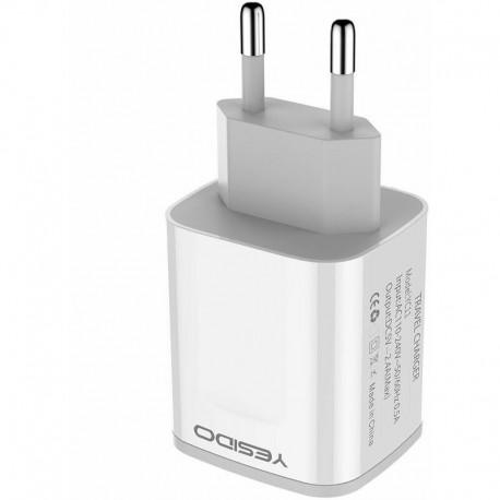 Chargeur de voyage USB 2 ports blanc
