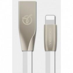 Cable USB type Lightning Iphone1,2m profil plat blanc