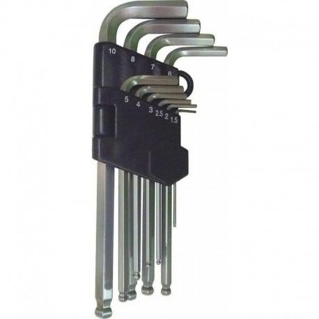 10 CLES HEX SPHER LONGUES 1.5-10MM/vrac