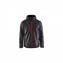 Veste Softshell à capuche gris / rouge Blaklader 494925179756