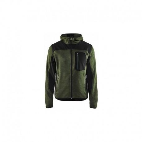 Veste tricotée à capuche vert / noir Blaklader 493021174699