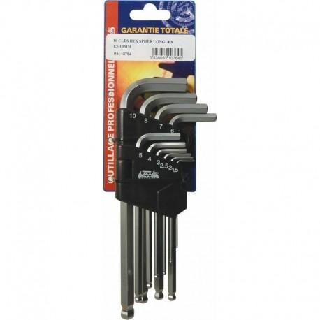 10 clés mâles coudées hexagonales longues 1.5 - 10 mm Drakkar