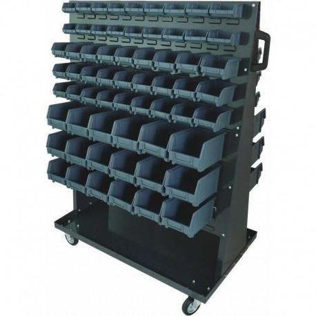 Étagère sur roulettes avec 126 boites à bec Drakkar