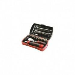 """Coffret pocket light 39 douilles et accessoires 1/4"""" avec cliquet 1/4"""" chantier SAM"""