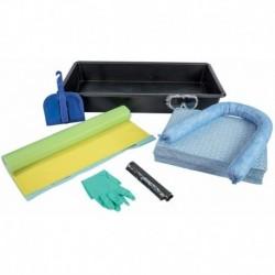 Kit anti-pollution spécial ADR hydrocarbure 50 L - Bac collecteur