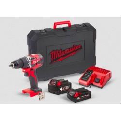 Perceuse Visseuse à percussion compacte Brushless MILWAUKEE 60Nm M18 CBLPD-422C 2 batteries 4Ah/2Ah, chargeur rapide, en coffret