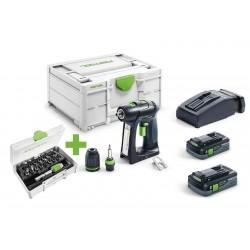 Perceuse-visseuse sans fil Festool C 18 HPC 4,0 I-Plus avec 2 batteries 4Ah, chargeur, systainer