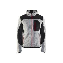 Veste tricotée Blaklader à capuche Gris chiné/Noir