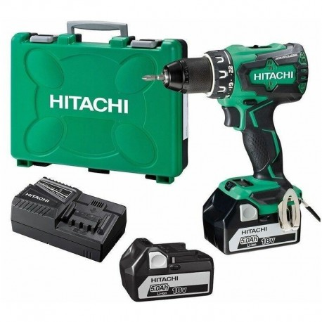 Perceuse - Visseuse Brushless 18V 5Ah Li-ion Hitachi-Hikoki - 2 batteries 5Ah, chargeur, en coffret - DS18DBSL
