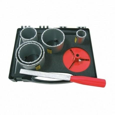 COFFRET 5 TREPANS concrétion carbure D.33/53/63/67/73 + accessoires Leman