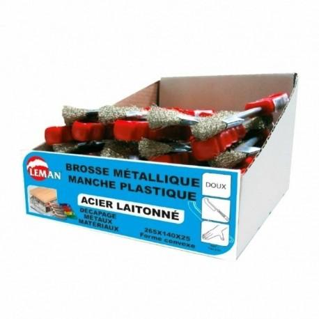 BROSSE MANUELLE DEMI-LUNE 265x140x25 FIL 0.30 acier laitonné